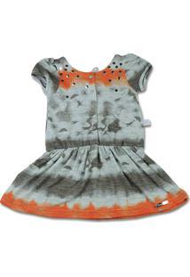 Vestido Malha Flame Estampado Reciclato Ano Zero Laranja