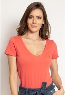 Camiseta Aleatory Feminina Gola V Básica - Feminino-Coral