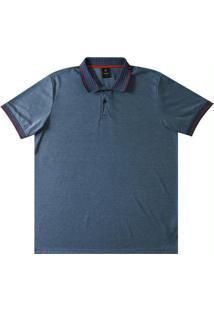 Camiseta Polo Adulto Com Botões Azul