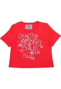 Camiseta Colcci Fun Menina Lettering Vermelha