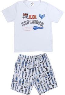 Pijama Curto Infanto Juvenil Para Menino - Branco
