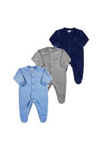 Macacão Bebê Plush Kit 3 Peças Básicas Pijama Bebê Menino - Azul P