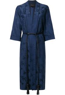 Shanghai Tang Robe Jacquard De Cetim - Azul