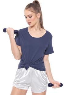 Camiseta Alto Giro Recorte Tule Azul-Marinho
