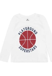 Camiseta Hering Kids Menina Frontal Off-White