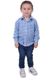Camisa Social Xadrez Azul E Branca Infanti Slim - Kanui