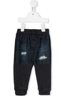 Emporio Armani Kids Distressed Patch Jeans - Azul