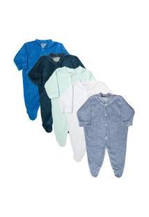 Macacão Plush Bebê Kit 5 Peças Pijama Masculino