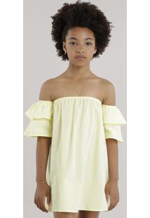 Vestido Ombro A Ombro Com Babados Amarelo Claro