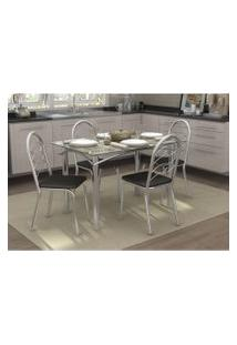 Conjunto Mesa Elba Com 4 Cadeiras Holanda Preto E Cromado Kappesberg Crome