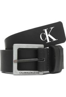 Cinto Couro Calvin Klein Jeans Monograma Preto - Kanui