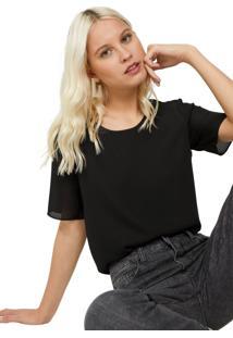 Camiseta Amaro Chiffon Essential Preto - Preto - Feminino - Dafiti
