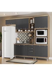 Cozinha Compacta Sicília 9 Portas 3 Gavetas Premium Argila/Grafite - Multimóveis
