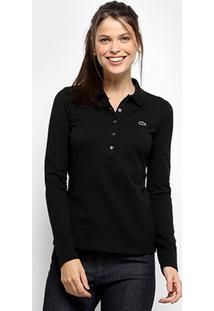 Camisa Polo Lacoste Manga Longa Botões Feminina - Feminino 87ccb7e5ca7bc