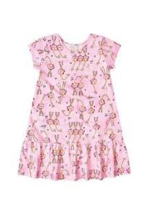 Camisola Manga Curta Bebê Quimby - Feminino-Rosa