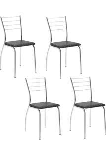 Conjunto 4 Cadeiras Tubo Cromado Floral Preto Carraro