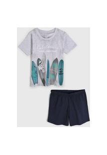 Pijama 2Pçs Malwee Liberta Curto Infantil Surf Cinza/Azul-Marinho