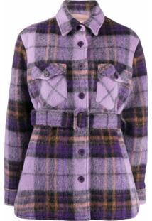 Andamane Evita Belted Shirt Jacket - Roxo