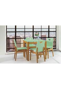 Sala De Jantar Com Mesa E 4 Cadeiras Tucupi 80Cm - Acabamento Stain Nózes E Verde Sálvia