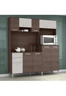 Cozinha Compacta 9 Portas 2 Gavetas Gisele 423 Capuccino/Off White - Poquema