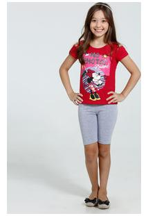 Conjunto Infantil Estampa Minnie Open Shoulder Disney