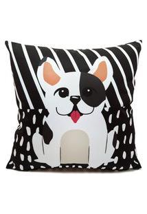 Capa Almofada Nita Faco Bulldog Francês Preto E Branco