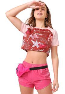 Camiseta Cropped Hurley Raglan Domino Rosa/Vinho