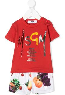 Msgm Kids Camiseta Decote Careca Com Estampa Do Logo - Vermelho