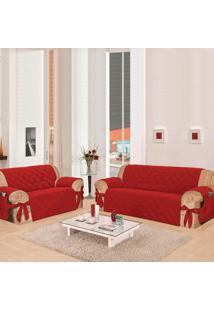 Kit 2 Capas Para Sofá: 2 E 3 Lugares Com 21 Elásticos Casa Dona Vermelho