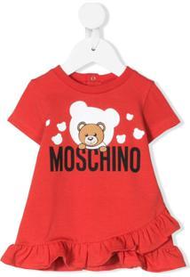 Moschino Kids Vestido Com Logo Teddy Bear - Vermelho