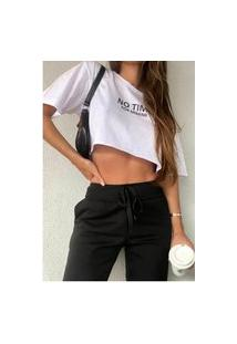 Camiseta Cropped Feminina Under79 Branca Frases