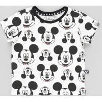 59253d1b19 Camiseta Infantil Mickey Estampada Manga Curta Gola Careca Off White