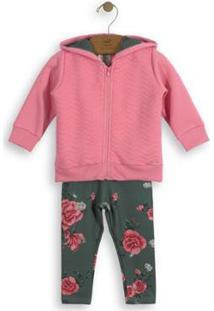 Conjuntojaqueta Moletom E Jegging Infantil Up Baby Feminino - Feminino-Rosa