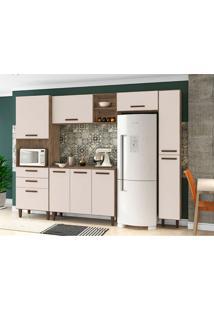 Cozinha Compacta Antonella 9 Pt 3 Gv Marrom Escuro E Champanhe