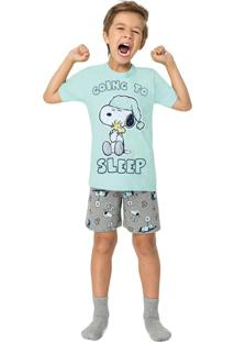 Pijama Verde Água Snoopy® Brilha No Escuro