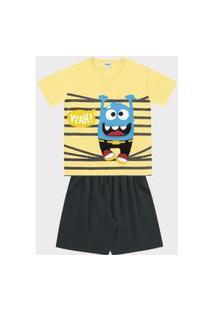 Conjunto Pijama Fakini Curto Menino Amarelo