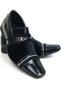 Sapato Social Couro Schiareli Verniz Masculino - Masculino-Preto