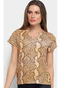 Camiseta Lança Perfume Justa Estampada Gola V Feminina - Feminino-Marrom
