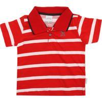 353c413cbd Camiseta Polo Alakazoo Menino Listrado Vermelha