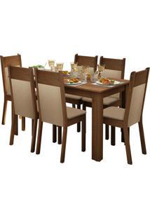 Sala De Jantar Madesa Jaine E 6 Cadeiras Marrom - Marrom - Dafiti