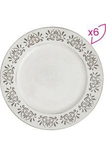 Jogo De Sousplat- Branco & Preto- 6Pã§S- Rojemacbon Gourmet