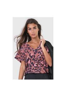 Camiseta Lança Perfume Animal Print Marrom/Rosa