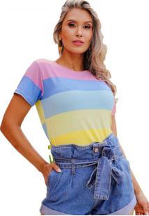 Camiseta T-Shirt Copacabana Arco-Íris Rosa