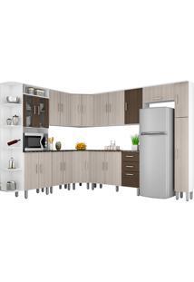 Cozinha Compacta 10 Peças Suíça - Poliman - Branco / Rovere / Amêndoa