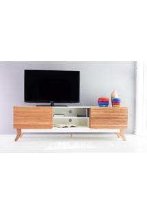 Rack Tv Vintage 1800 Mdf Branco 2 Portas De Madeira - 180X44X55 Cm