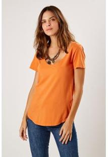 Camiseta Malha Básica Decote V Sacada Feminina - Feminino-Laranja