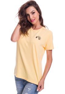 Camiseta Jazz Brasil Basica Amarela - Amarelo - Feminino - Algodã£O - Dafiti