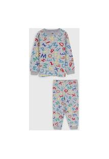 Pijama Brandili Longo Infantil Lettering Cinza