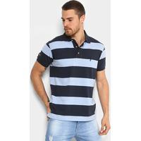 Camisa Polo Listrada Aleatory Manga Curta Masculina - Masculino-Marinho+Azul dd876e92a97b9