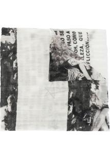 Rick Owens Drkshdw Cachecol Com Estampa Gráfica - Branco